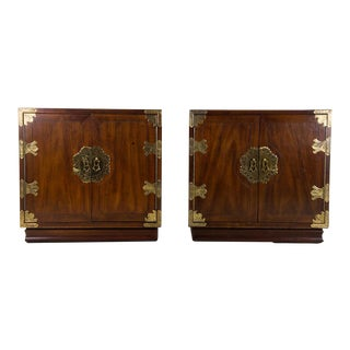 1970s Henredon Chinoiserie Campaign Style Nightstands - a Pair