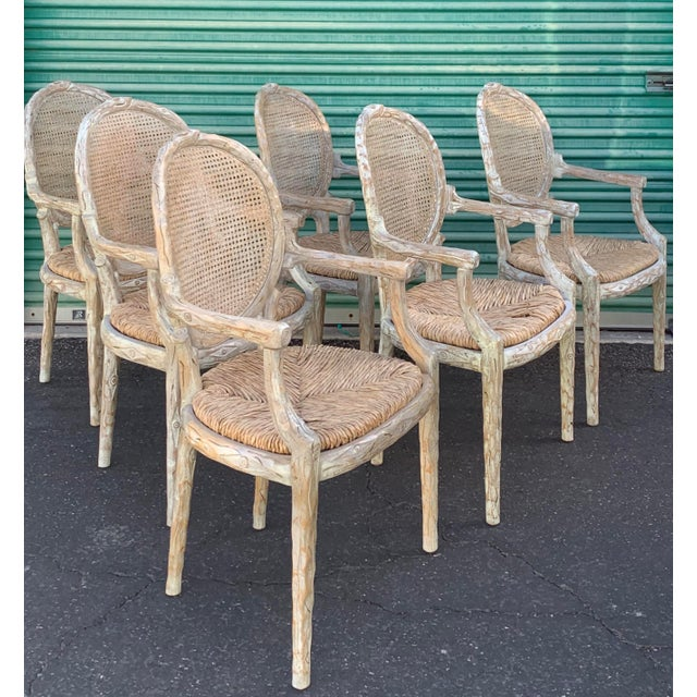 Art Nouveau 1960's Vintage Louis XVI Faux Bois Branch Form Cane Back Rush Seat Dining Chairs -Set of 6 For Sale - Image 3 of 13