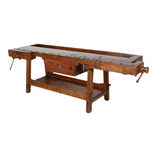 19th Century French Etabli or Carpenter's Workbench With Two Vises For Sale