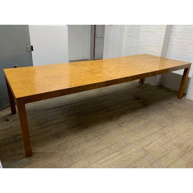 Tan Milo Baughman Burl Wood Dining Table With Two Leaves For Sale - Image 8 of 8