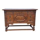 Image of 1930s Spanish Renaissance Revival Oak Chest Console Table For Sale