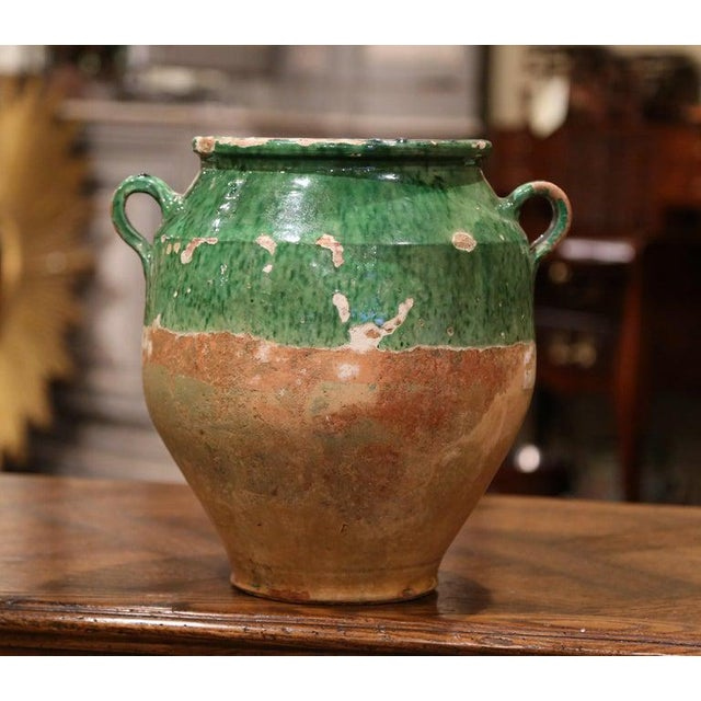 French 19th Century Green Glazed Pottery Confit Pot From Southwest France For Sale - Image 3 of 7