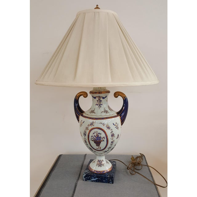 White Winterthur Porcelain Blue and White China Table Lamp For Sale - Image 8 of 8