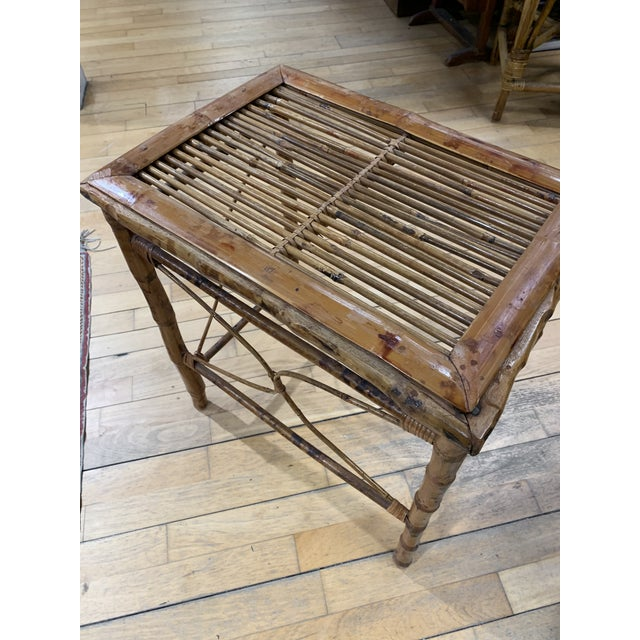 Vintage Asian Bamboo Nesting Tables - Set of 2 For Sale In Portland, ME - Image 6 of 9
