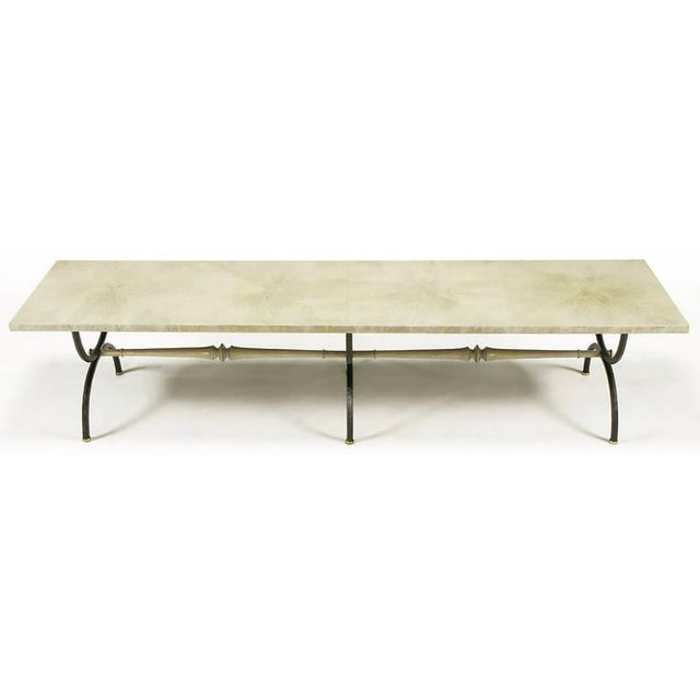 Tomlinson Tomlinson Driftwood Glazed Coffee Table with Triple-Curule Forged Iron Base For Sale - Image 4 of 8