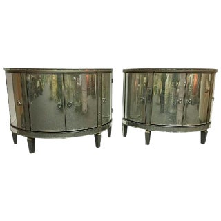 PAIR OF CUSTOM-MADE DEMILUNE MIRRORED COMMODES For Sale