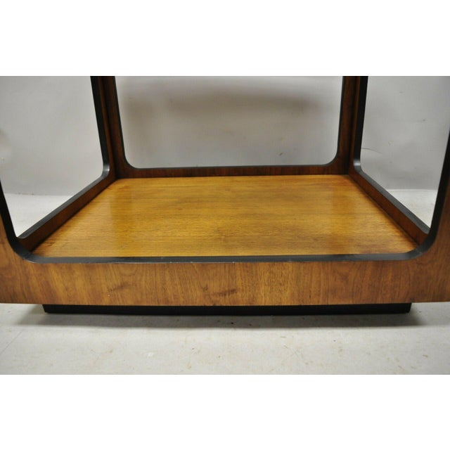 Mid 20th Century Mid Century Modern Lane Walnut Smoked Glass Modernist End Tables - a Pair For Sale - Image 5 of 12