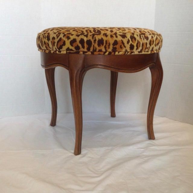 1960s Vintage Italian Leopard Upholstered Vanity Stool For Sale - Image 5 of 13