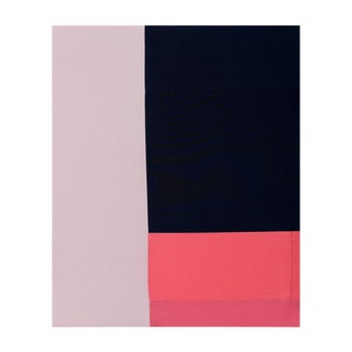 Abstract Minimalist Textile Navy and Pink Painting For Sale