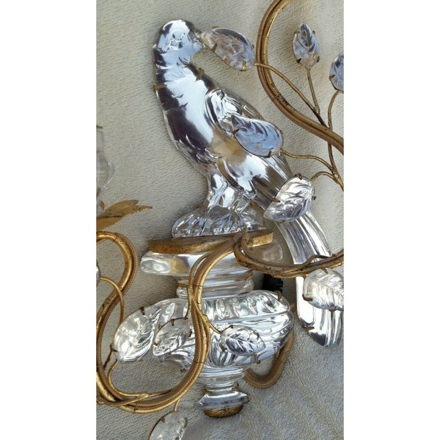 Glass French Art Deco Authentic Maison Bagues Crystal Opposing Face Parrot Sconces, a Pair For Sale - Image 7 of 11