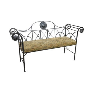 Maitland Smith Regency Style Wrought Iron & Bronze Settee Bench w/ Lion Heads For Sale