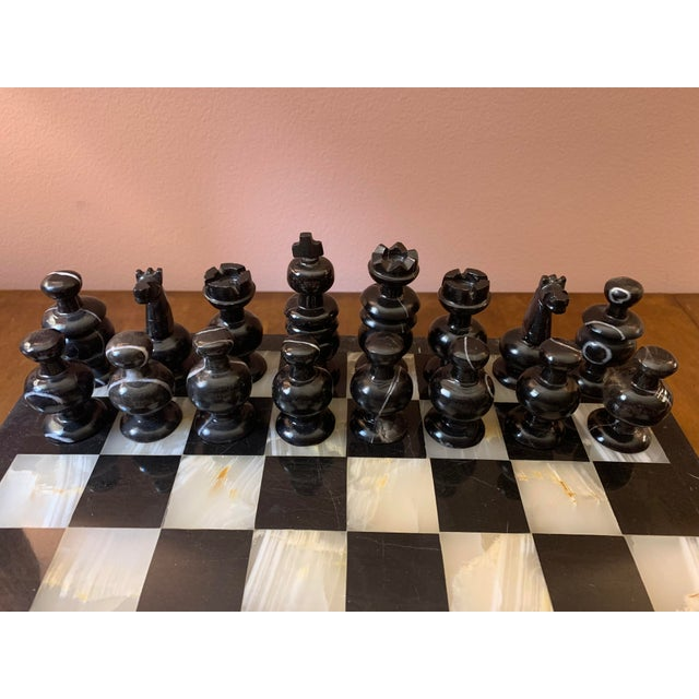 1970s Vintage Hand Carved Quartz/Marble Complete Chess Set - 32 Pieces For Sale - Image 4 of 13
