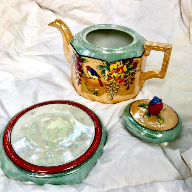 Art Deco Japanese Lustreware Teapot on Base With Bird Theme - 3 Piece Set - Image 7 of 7