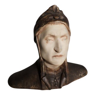 Bust of Dante, Cast and Polychromed For Sale
