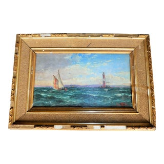 German Painting of Seascape In Gilded Antique Frame