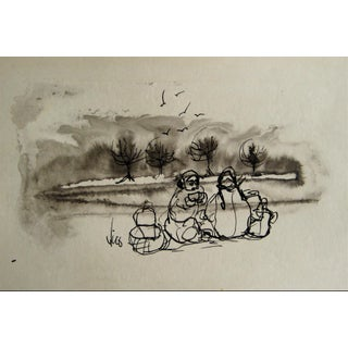 Figures by the Coast 1960s Ink Wash For Sale
