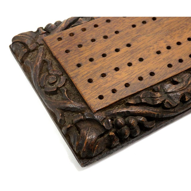 Antique Carved Mahogany Cribbage Game Board For Sale - Image 4 of 13