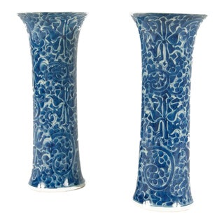 Early 20th Century Blue and White Chinese Trumpet Vases - a Pair For Sale