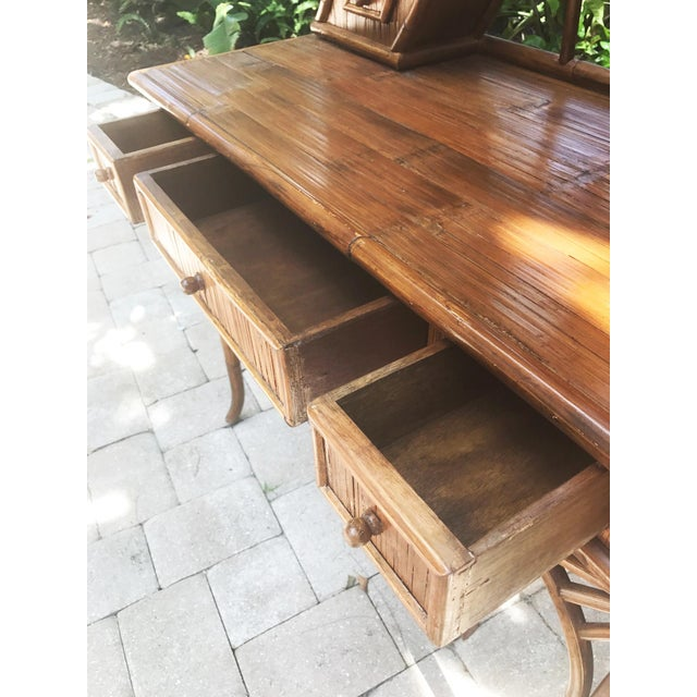 Vintage Bamboo Pagoda Vanity Table For Sale - Image 6 of 7