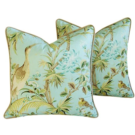 Tropical Egret & Floral Pillows - Pair - Image 1 of 8