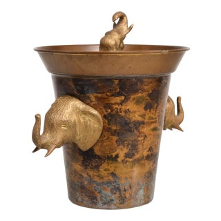 Hollywood Regency Elephant Ice Bucket For Sale