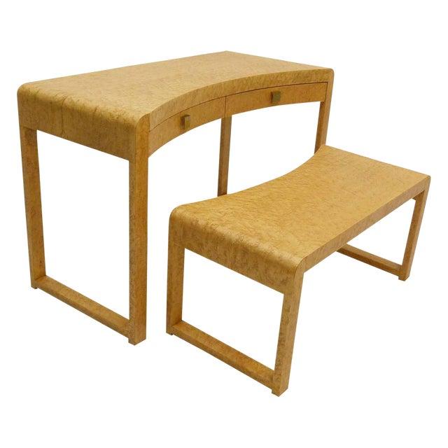 Birds Eye Maple Burl Wood Desk & Bench - Image 1 of 11