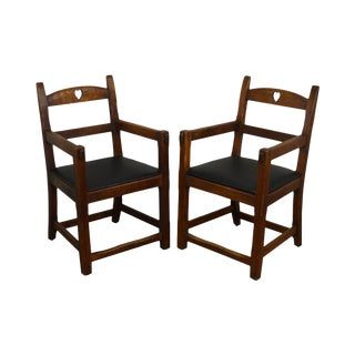 English Arts & Crafts Antique Oak Pair of Armchairs For Sale