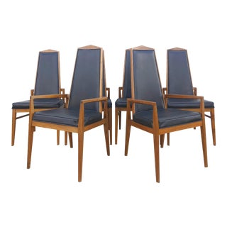 Set of 6 Mid Century Modern Dining Chairs With Black Vinyl Seats For Sale