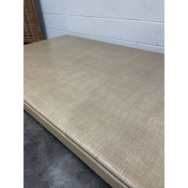 Wood Harrison Van Horn Grass Cloth Dining Table For Sale - Image 7 of 8