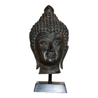 Meditating Buddha Head Bronze Statue on Wood Stand For Sale