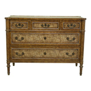 Maitland Smith Regency Style Leather Wrapped Chest Dresser For Sale
