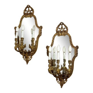 Pair Neoclassical Style Wall Sconces Bronze Three Arm Light With Fairy Figures For Sale
