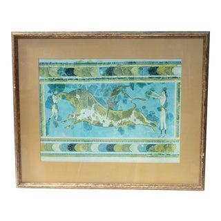 Acrobats & Bull Framed Print For Sale