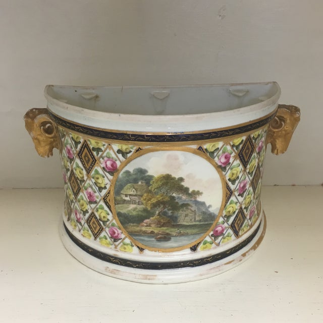 Ceramic 1800's Hand Painted Porcelain Rams Head Planter For Sale - Image 7 of 7