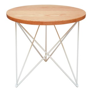 Helms Outdoor Teak End Side Table, White Powder Coated Stainless Steel Base For Sale