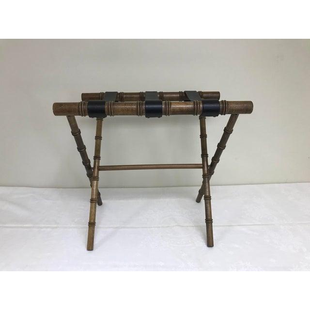 1960s Regency Faux Bamboo Leather Strap Folding Luggage Rack Stand For Sale - Image 4 of 10