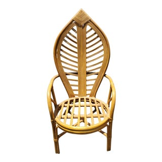 Vintage Island Style Rattan High Back Leaf Chair For Sale