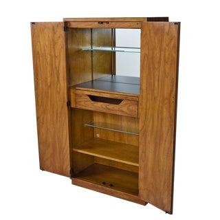 Drexel Heritage Consensus Pecan Illuminated Bar Cabinet, 1970s Campaign Style For Sale