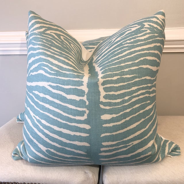 "Brunschwig & Fils ""Le Zebre"" in Aqua 22"" Pillows-A Pair For Sale In Greensboro - Image 6 of 6"