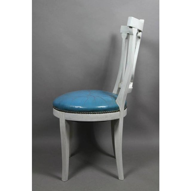 Set of Six Neoclassic Style Painted Dining Chairs For Sale - Image 4 of 5