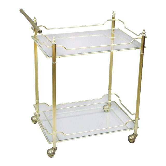 Mid Century Modern Brass Plated Metal & Glass Gold Rolling Bar Tea Cart - Image 1 of 11