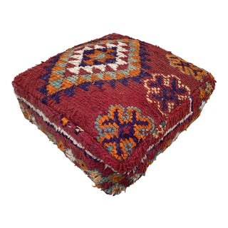 Vintage Moroccan Patterned Pouf Cover For Sale