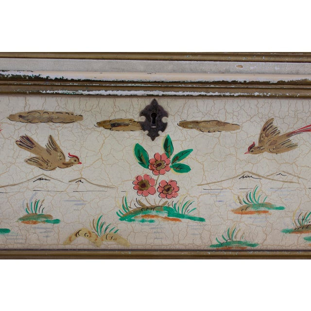 Acrylic Paint Cream Crackle Glaze Handpainted Chinoiserie Secretary For Sale - Image 7 of 8