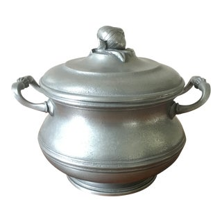 Vintage French Pewter Tureen With Onion Finial For Sale
