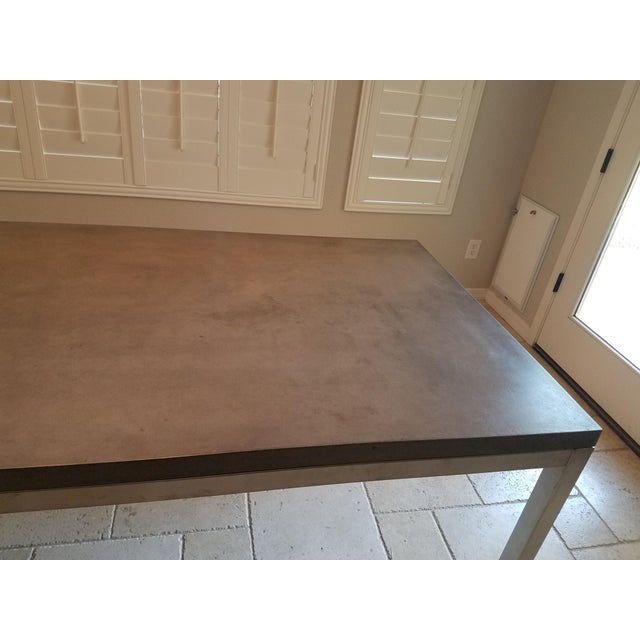 Metal Modern Industrial Concrete Dining Table For Sale - Image 7 of 8
