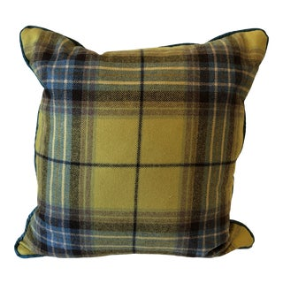 Chartreuse Tartan and Turquoise Plaid Pillow For Sale
