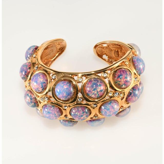 K.J.L. Bracelet Hinged Cuff Faux Opals For Sale In Austin - Image 6 of 6