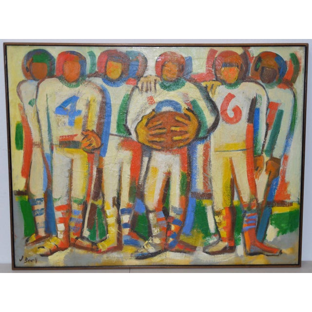 "Monumental Mid Modern ""Football"" Painting by J. Beall c.1960 This large painting will be the centerpiece of any room...."