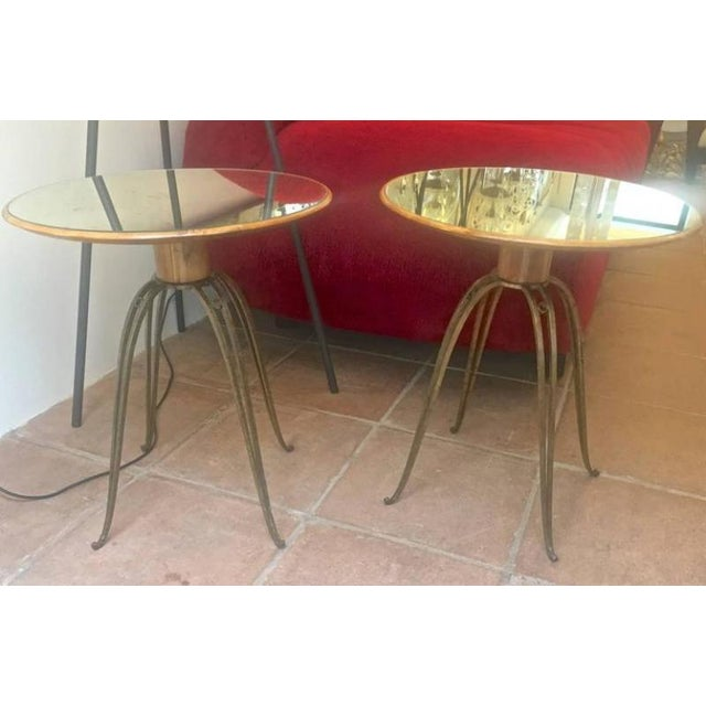 Mid-Century Modern Rene Prou Rare Refined Pair of Side Table in Sycamore and Gold Leaf Wrought Iron For Sale - Image 3 of 9