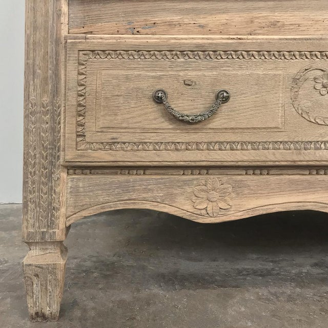 Wood 18th Century French Louis XVI Stripped Oak Commode For Sale - Image 7 of 13
